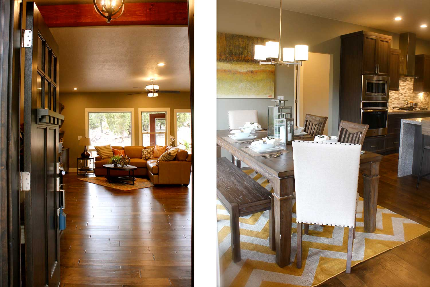 left side of image shows front door open leading to living room couch, right side of image shows dining room table with one bench, two wood chairs, and two white leather chairs
