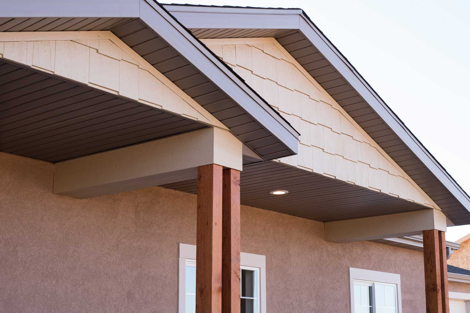 close up of the soffit and roof