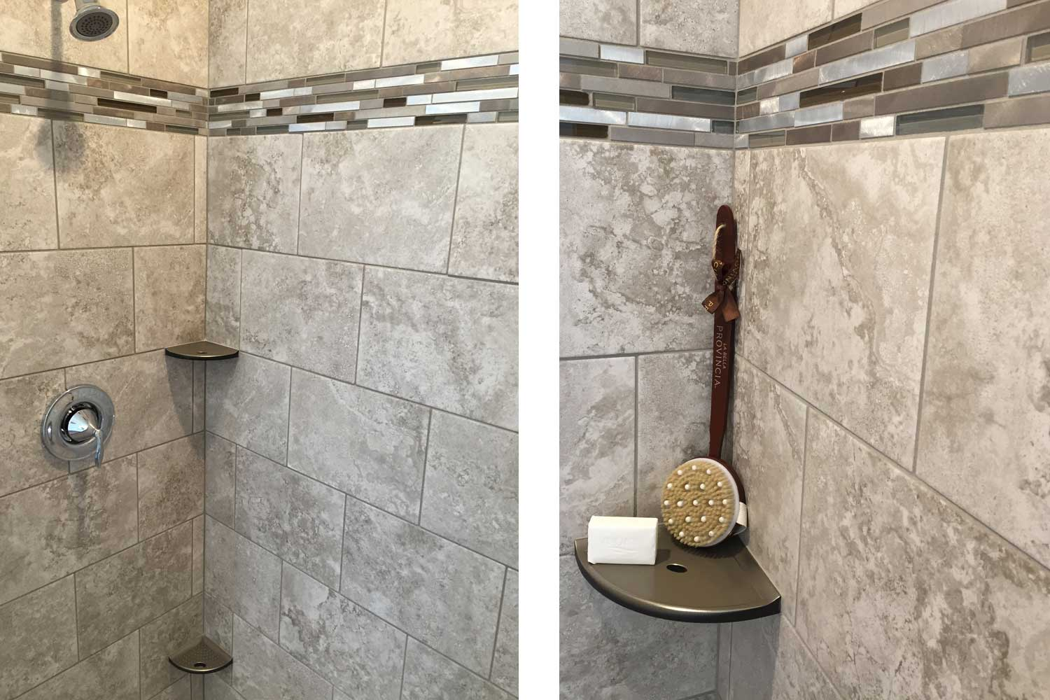 close up of brown and beige shower tiles