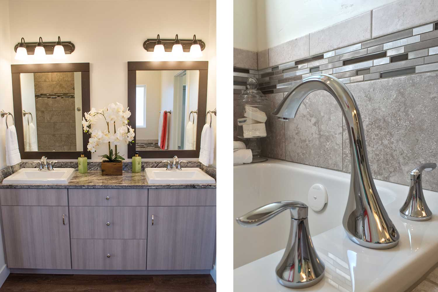 bathroom vanity with two sinks and mirrors and close up of silver colored faucets for the bathtub